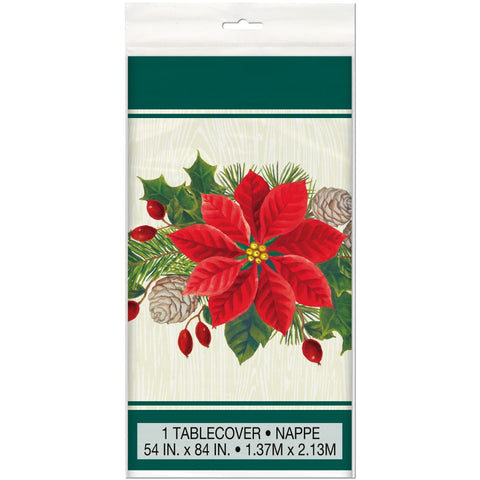 Red & Green Poinsettia Table Cover