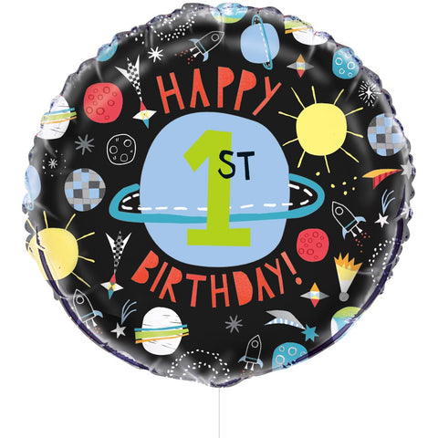 "18"" Foil Outer Space 1st Birthday Balloon"