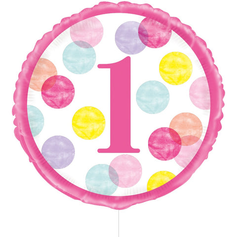 Pink Dots 1st Birthday Foil Balloon