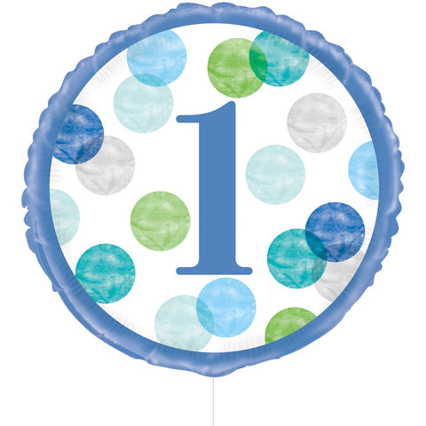 Blue Dots 1st Birthday Foil Balloon