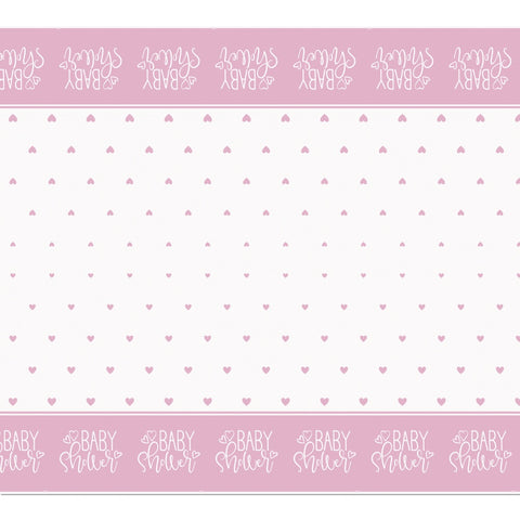 Pink Hearts Baby Shower Plastic Tablecloth