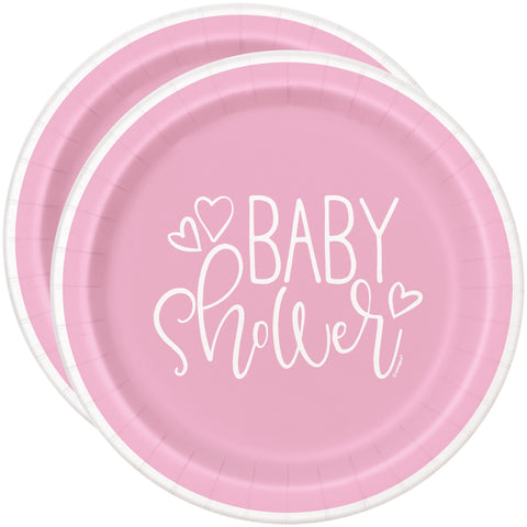 "7"" Pink Hearts Baby Shower Paper Plates"