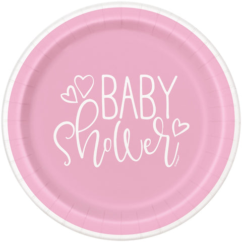 "9"" Pink Hearts Baby Shower Paper Plates"