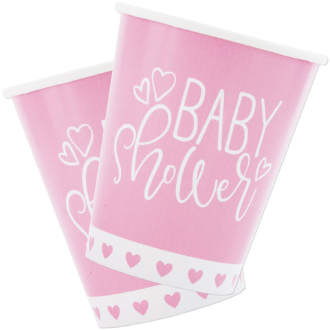Pink Hearts Baby Shower 9oz Paper Cups