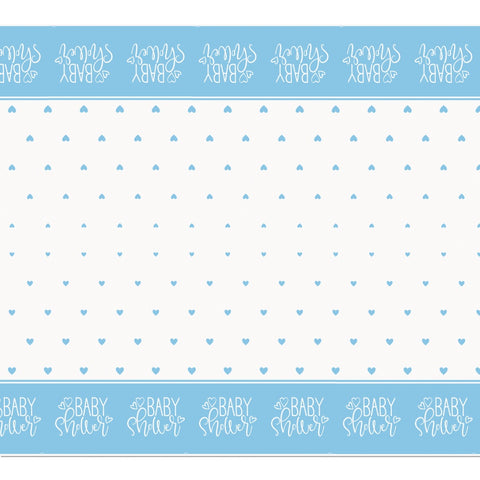 Blue Hearts Baby Shower Plastic Tablecloth