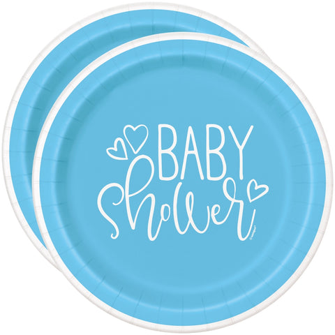 "7"" Blue Hearts Baby Shower Paper Plates"