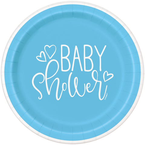 "9"" Blue Hearts Baby Shower Paper Plates"