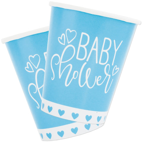 Blue Hearts Baby Shower 9oz Paper Cups