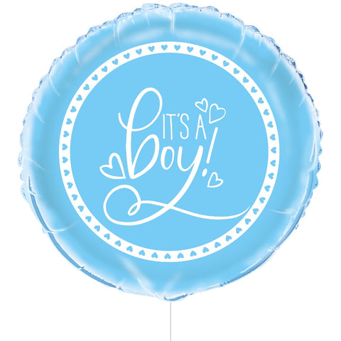 "18"" Foil Blue Hearts Baby Shower Balloon"