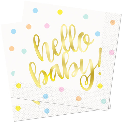 Gold Hello Baby Paper Napkins