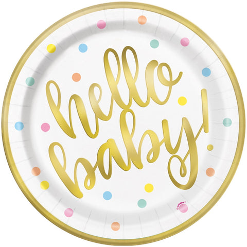 "Gold Hello Baby 9"" Paper Plates"