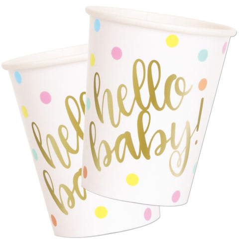 Gold Hello Baby Paper Cups