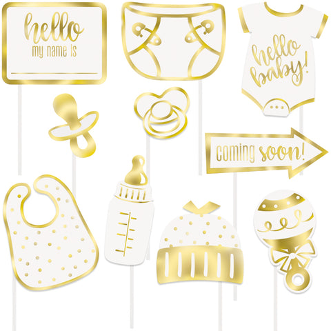Gold Hello Baby Photo Booth Props