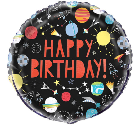 "18"" Foil Outer Space Happy Birthday Balloon"