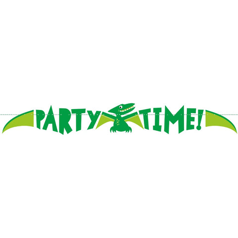 Green Dinosaur Party Time Banner