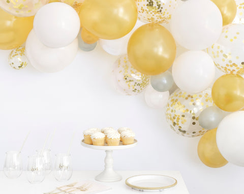 White & Gold Balloon Arch Kit