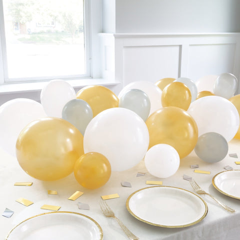 Silver, White & Gold Balloon Garland with Table Confetti