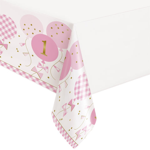Pink Gingham 1st Birthday Plastic Tablecover