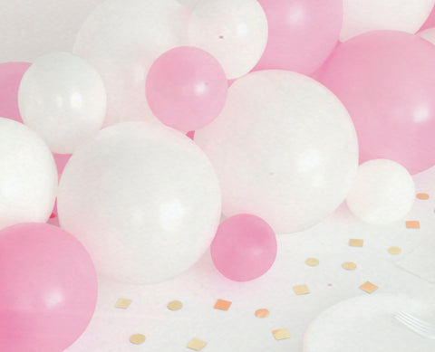 Pink & White Balloon Garland with Gold Table Confetti