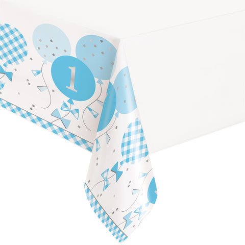 Blue Gingham 1st Birthday Plastic Table Cover