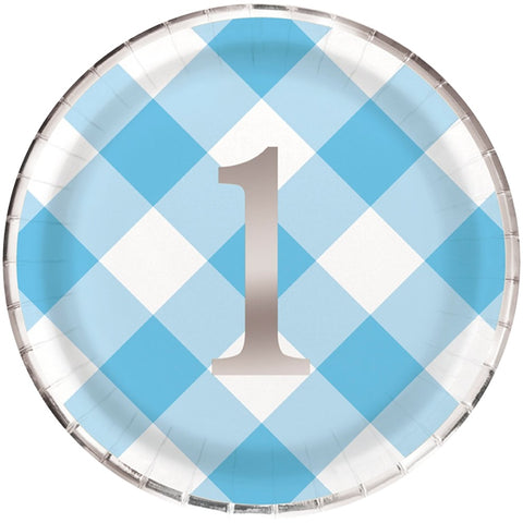 Blue Gingham 1st Birthday Paper Plates