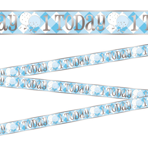 Blue Gingham 1st Birthday Foil Banner