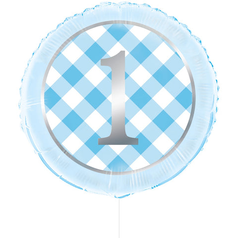 Blue Gingham 1st Birthday Round Foil Balloon