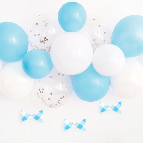 Blue Gingham 1st Birthday Balloon Arch Kit