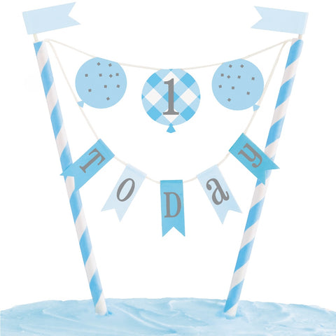 Blue Gingham 1st Birthday Bunting Cake Topper