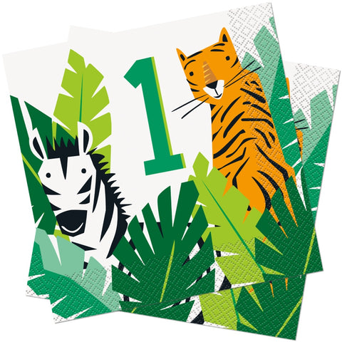 Animal Safari 1st Birthday Napkins 33cm
