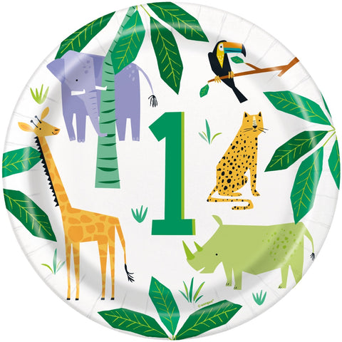 "Animal Safari 1st Birthday 9"" Plates"