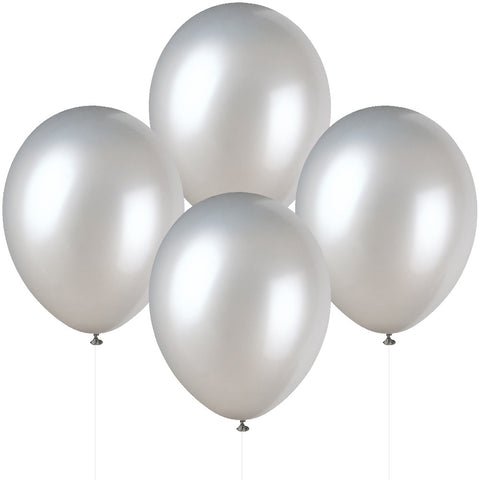 "12"" Pearlised Latex Silver Balloons"