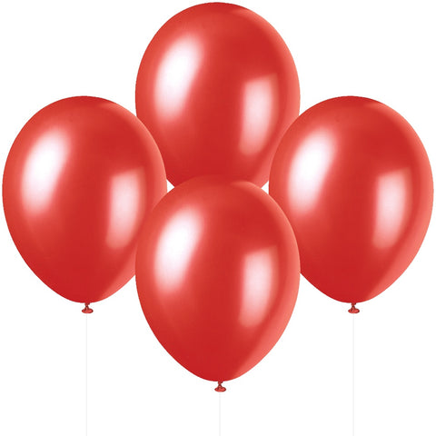 "12"" Pearlised Latex Flame Red Balloons"