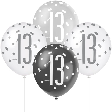 Glitz Black & Silver 13th Birthday Balloons