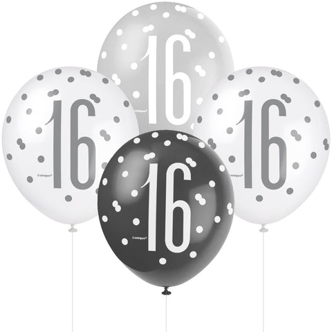 Glitz Black & Silver 16th Birthday Balloons