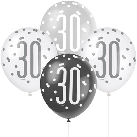 Glitz Black & Silver 30th Birthday Balloons