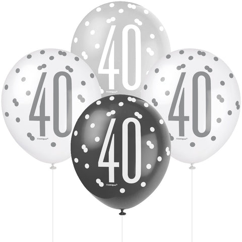 Glitz Black & Silver 40th Birthday Balloons