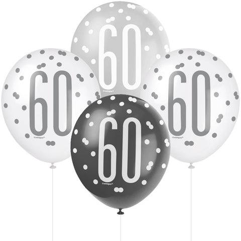 Glitz Black & Silver 60th Birthday Balloons