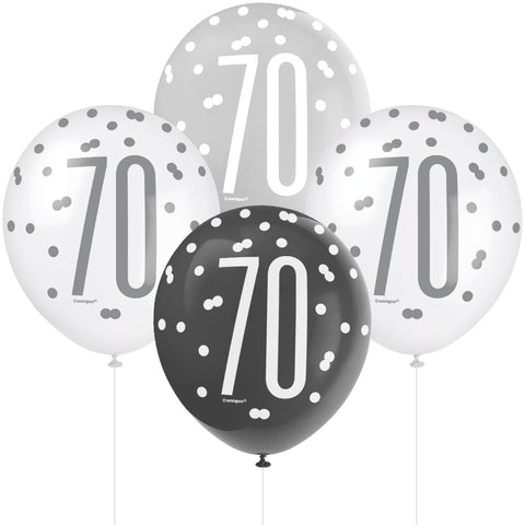 Glitz Black & Silver 70th Birthday Balloons