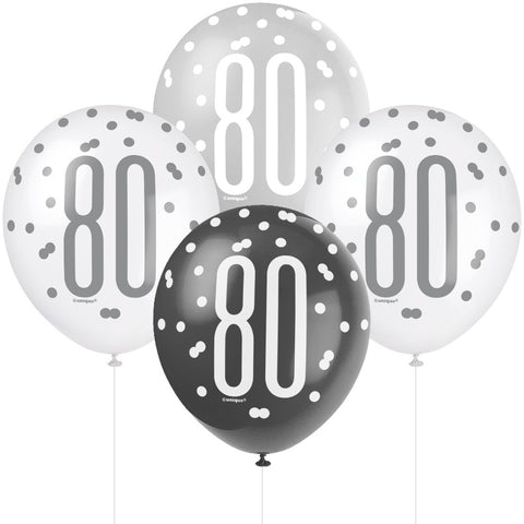 Glitz Black & Silver 80th Birthday Balloons