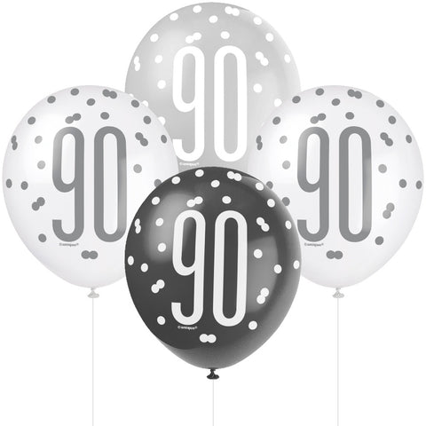 Glitz Black & Silver 90th Birthday Balloons