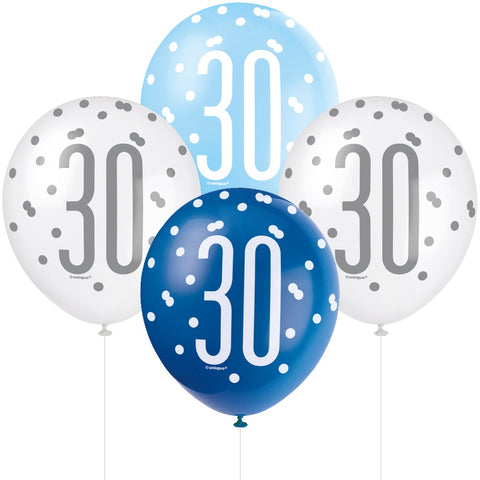 Glitz Blue & Silver 30th Birthday Balloons