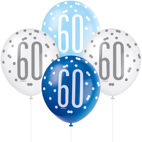Glitz Blue & Silver 60th Birthday Balloons
