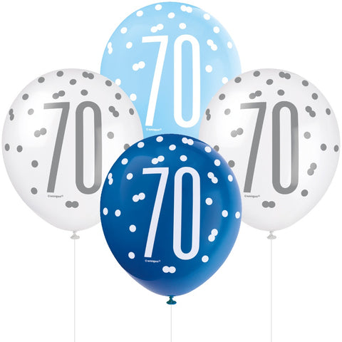 Glitz Blue & Silver 70th Birthday Balloons