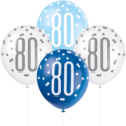Glitz Blue & Silver 80th Birthday Balloons