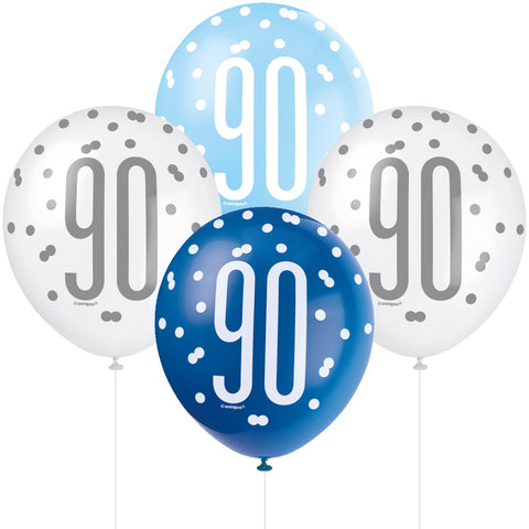 Glitz Blue & Silver 90th Birthday Balloons