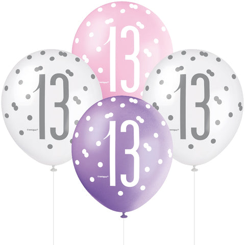 Glitz Pink & Silver 13th Birthday Balloons