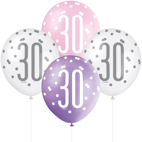 Glitz Pink & Silver 30th Birthday Balloons