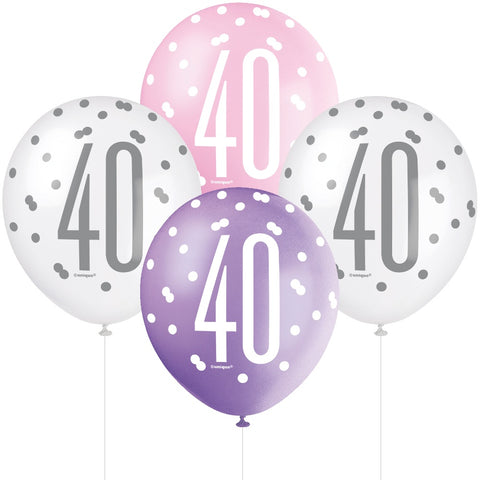Glitz Pink & Silver 40th Birthday Balloons