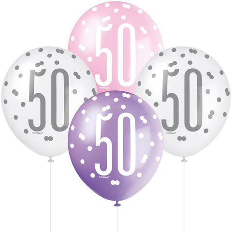 Glitz Pink & Silver 50th Birthday Balloons